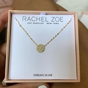 Sterling Silver 14K Plated Circle CZ Necklace
